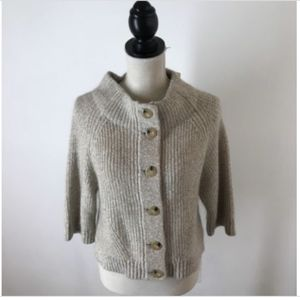 Lands' End Sweater Jacket Shaker Knit